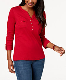 Karen Scott Cotton Patch-Pocket Henley Top, Created for Macy's