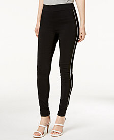 I.N.C. Petite Satin-Stripe Skinny Pants, Created for Macy's