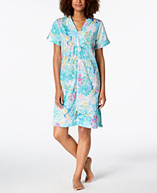 Miss Elaine Cotton Printed Short Zip Robe