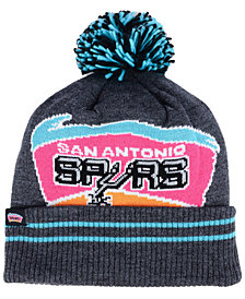 Mitchell & Ness San Antonio Spurs Black Heather Hi-5 Pom Knit