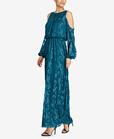 Lauren Ralph Lauren Floral-Print Cold-Shoulder Gown