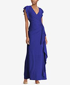 Lauren Ralph Lauren Flutter-Sleeve Gown