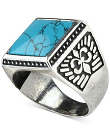 DEGS & SAL Men's Onyx (12mm) Fleur-de-Lis Ring in Sterling Silver (Also in Manufactured Turquoise)