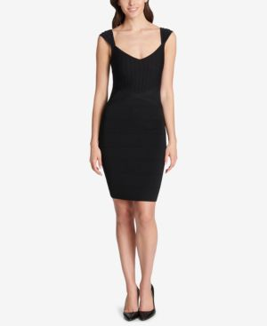 GUESS Sweetheart Bandage Bodycon Dress in Black