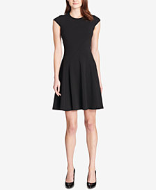 Tommy Hilfiger Seamed Scuba Fit & Flare Dress