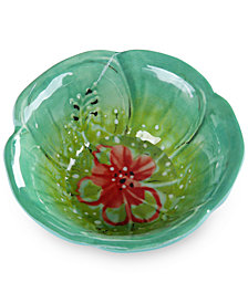 CLOSEOUT! Laurie Gates Floral Green and Turquoise Dip Bowl, First at Macy's