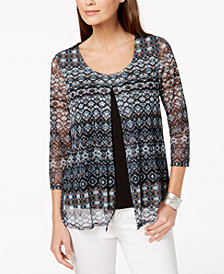 NY Collection Petite Printed Split-Front Top