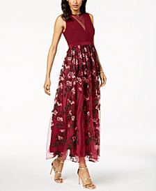 Nightway Petite Illusion Floral-Embroidered Gown