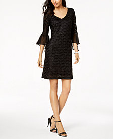 Connected Petite Bell-Sleeve Glitter-Illusion Dress