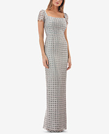 JS Collections Square-Neck Macramé Soutache Gown
