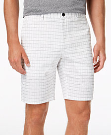 "Alfani Men's Classic-Fit Geometric Grid-Print 9"" Chino Shorts, Created for Macy's"