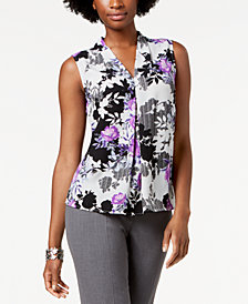 Nine West Floral-Print Shell