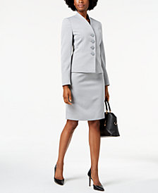 Le Suit Textured Four-Button Skirt Suit, Regular & Petite