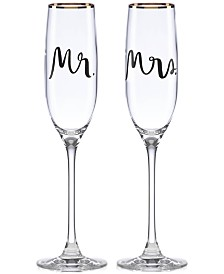 kate spade new york Bridal Party Mr. & Mrs. Flute Pair