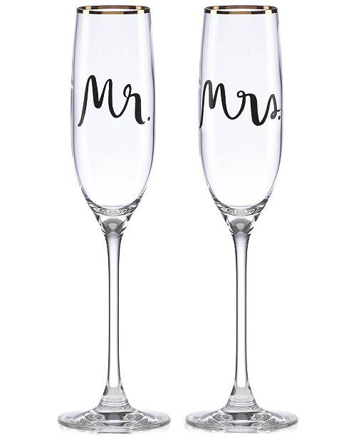 kate spade new york Bridal Party Mr. & Mrs. Flute Pair