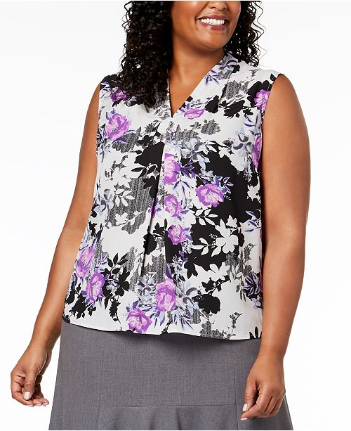 3443ff1fbc80c Nine West Plus Size Printed V-Neck Shell   Reviews - Tops - Women ...