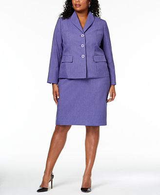Le Suit Plus Size Three Button Skirt Suit Wear To Work Women