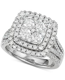 Diamond Double Halo Cluster Ring (2 ct. t.w.) in 14k White Gold