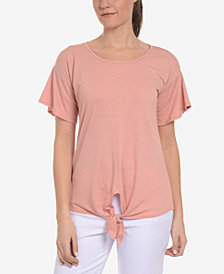 NY Collection Flutter-Sleeve Tie-Front Top