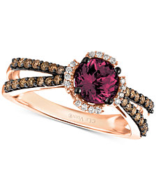 Le Vian® Raspberry Rhodolite® (1-1/10 ct. t.w.) & Diamond (3/8 ct. t.w.) Ring in 14k Rose Gold