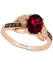 Le Vian® Raspberry Rhodolite® (1-1/2 ct. t.w.) & Diamond (1/8 ct. t.w.) Ring in 14k Rose Gold