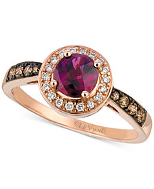 Le Vian® Raspberry Rhodolite® (3/4 ct. t.w.) & Diamond (1/4 ct. t.w.) Ring in 14k Rose Gold