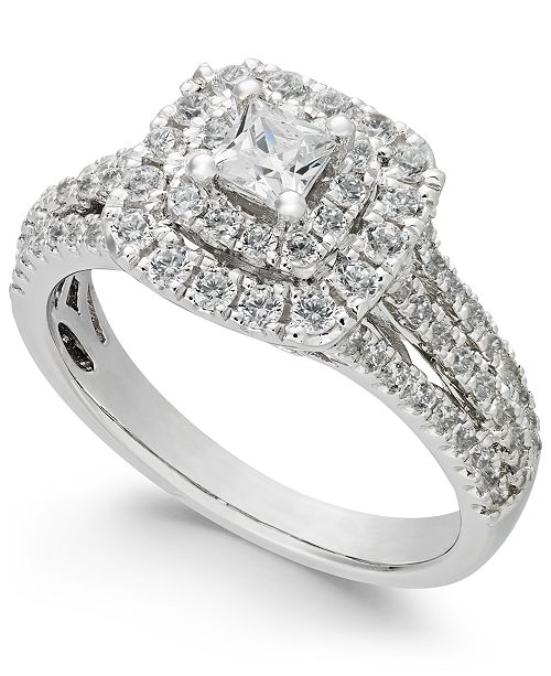 fcbdedfa5 t.w.) in 14k White Gold; Macy's Diamond Princess Cut Engagement Ring (1 ct.