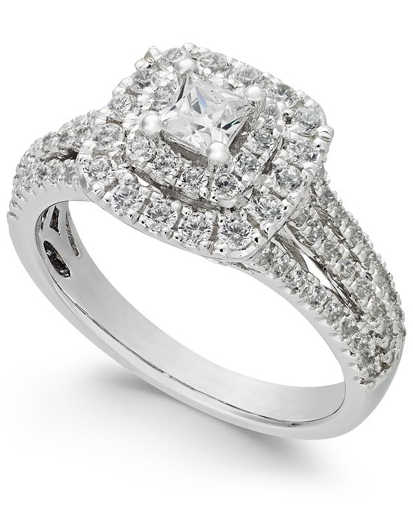 Macy's Diamond Princess Cut Engagement Ring (1 ct. t.w.) in 14k White Gold