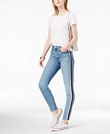 Joe's Charlie Velvet-Trim Ankle Skinny Jeans