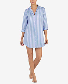 Lauren Ralph Lauren Notch-Collar Striped Sleepshirt