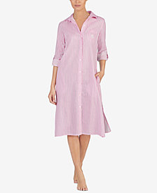 Lauren Ralph Lauren Striped Notch-Collar Sleepshirt