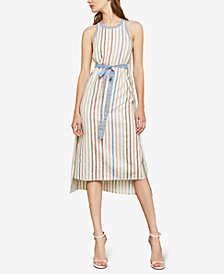 BCBGMAXAZRIA Striped Crisscross Midi Dress