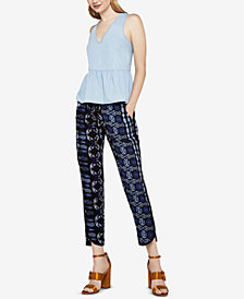 BCBGeneration Cotton Ruffle Denim Top