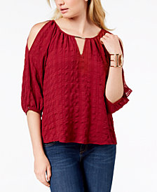 BCX Juniors' Cold-Shoulder Pucker Chiffon Top