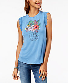 True Vintage Sequin-Appliqué Graphic Top