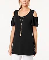 0af185f96e8 JM Collection Cold-Shoulder Necklace Flutter-Sleeve Top, Created for Macy's