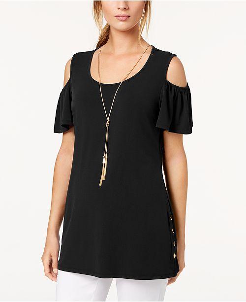 JM Collection Cold-Shoulder Necklace Flutter-Sleeve Top, Created for Macy's