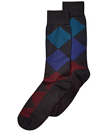 Perry Ellis Men's Microfiber Printed Dress Socks