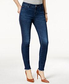 I.N.C. Petite Racing-Stripe Skinny Jeans, Created for Macy's