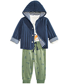First Impressions Baby Boys Graphic-Print T-Shirt, Jacket & Jogger Pants Separates, Created for Macy's