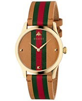 d34f9a0d2 Gucci Men's Swiss G-Timeless Brown Leather Strap Watch 38mm