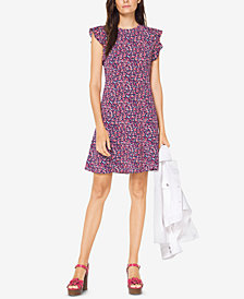 MICHAEL Michael Kors Petite Printed Flounce-Sleeve Sheath Dress