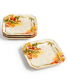 222 Fifth Autumn Celebration Harvest Appetizer Plates, Set of 4