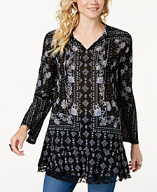 Style & Co Printed Lantern-Sleeve Tunic Top, Created for Macy's