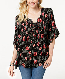 Style & Co Petite Printed Tie-Neck Peasant Top, Created for Macy's