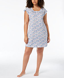 Miss Elaine Plus Size Mesh-Trim Nightgown