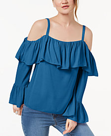 I.N.C. Petite Off-The-Shoulder Ruffle-Cuff Top, Create for Macy's