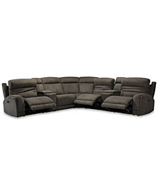 Winterton 7-Pc. Fabric Sectional Sofa With 3 Power Recliners, Power Headrests, Lumbar, 2 Consoles And USB Power Outlet