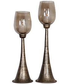 Uttermost Badal Antiqued Gold Candleholders, Set of 2