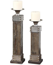 Uttermost Lican Natural Wood Candleholders, Set of 2
